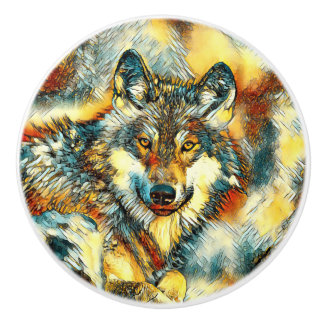 AnimalArt_Wolf_20170601_by_JAMColors Ceramic Knob