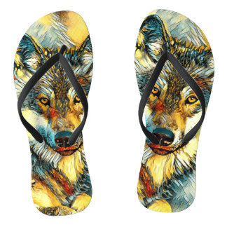 AnimalArt_Wolf_20170601_by_JAMColors Flip Flops