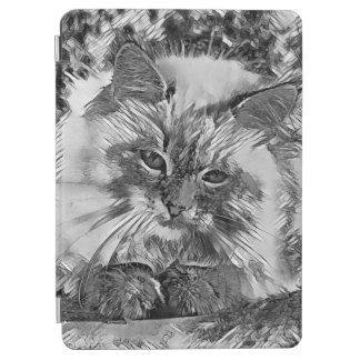 AnimalArtBW_Cat_20170907_by_JAMColors iPad Air Cover