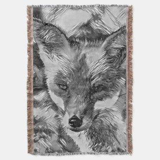 AnimalArtBW_Fox_20170601_by_JAMColors Throw Blanket