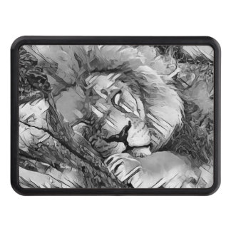 AnimalArtBW_Lion_20170604_by_JAMColors Trailer Hitch Cover