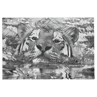 AnimalArtBW_Tiger_20170601_by_JAMColors Doormat