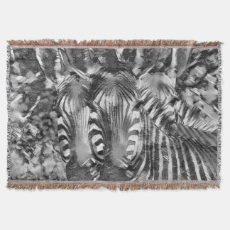 AnimalArtBW_Zebra_20170701_by_JAMColors Throw Blanket