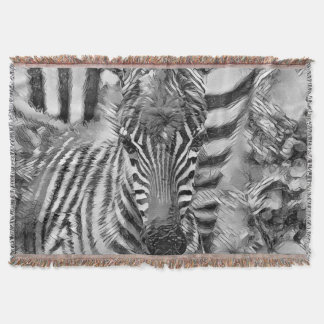 AnimalArtBW_Zebra_20170702_by_JAMColors Throw Blanket