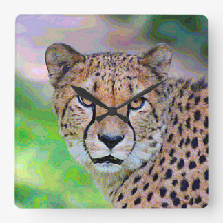 AnimalPaint_Cheetah_20171201_by_JAMColors Square Wall Clock