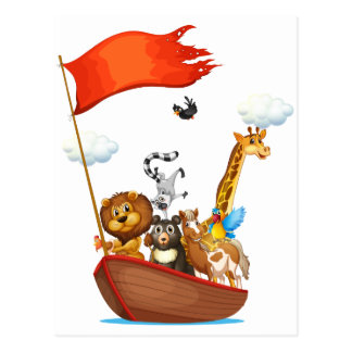 Animals and boat postcard