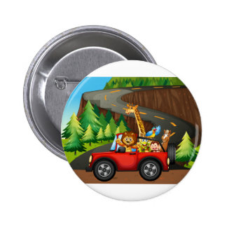 Animals and car 2 inch round button