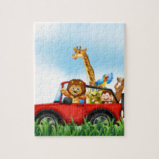 Animals and car jigsaw puzzle