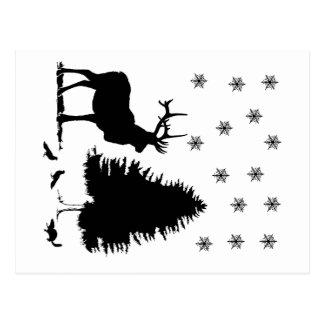 Animals and snow postcard