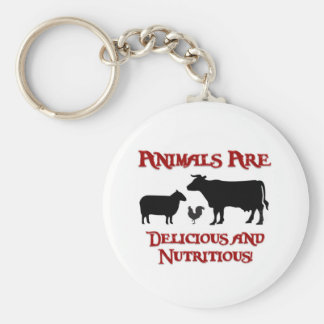 Animals are Delicious and Nutritious Basic Round Button Keychain
