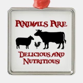 Animals are Delicious and Nutritious! Silver-Colored Square Ornament