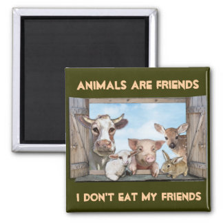 Animals are Friends Square Magnet