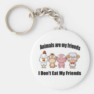 Animals are my friends basic round button keychain