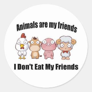 Animals are my friends round sticker
