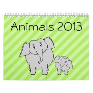 Animals Calendar 2013. Cute Cartoon Animals.
