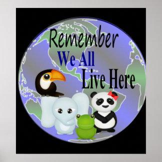 Animals Globe Poster