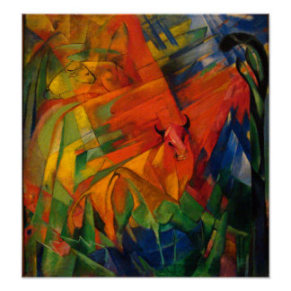 Animals in a Landscape by Franz Marc Poster