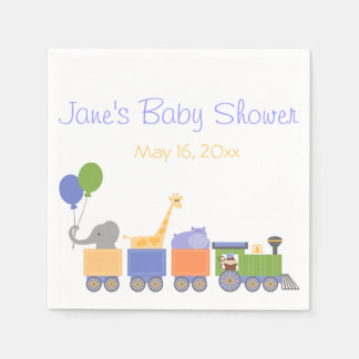 Animals On A Train Baby Shower Napkins Disposable Napkin