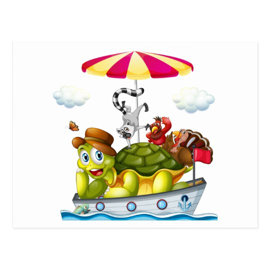 Animals on boat postcard