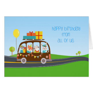 Animals on Bus, Happy Birthday from All of Us Card