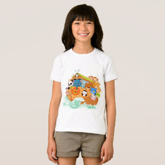 Animals On Noahs Art Girls T-Shirt