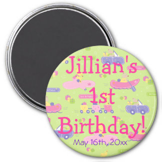 Animals On The Go Girl Birthday Party Favor 3 Inch Round Magnet