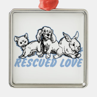 Animals Rescued Love Metal Ornament