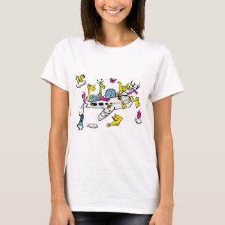 Animals Riding Airplane Cartoon Fantasy Art T-Shirt