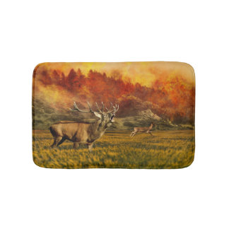 Animals Running away from Fire Illustration Bathroom Mat