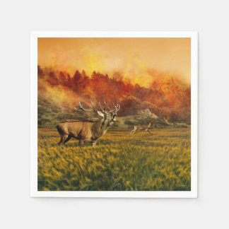 Animals Running away from Fire Illustration Disposable Napkin