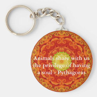 Animals share with us the privilege of having..... basic round button keychain