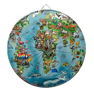 Animals World Map Dartboard