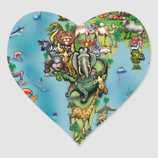 Animals World Map Heart Sticker