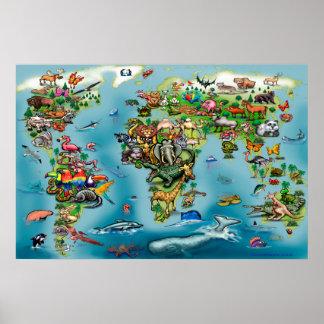 Animals World Map HUGE Poster