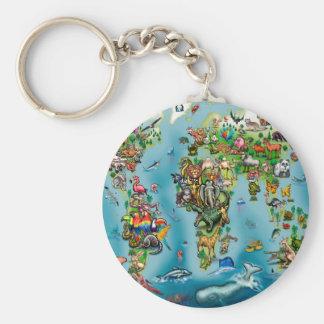 Animals World Map Keychain