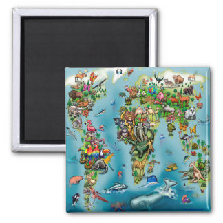 Animals World Map Magnet