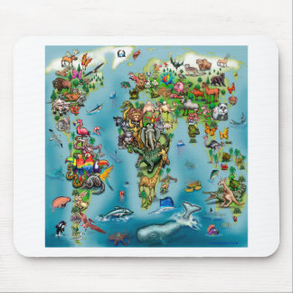 Animals World Map Mouse Pad