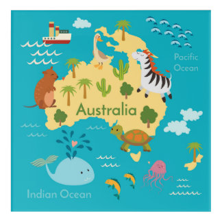Animals World Map of Australia For Kids Acrylic Print
