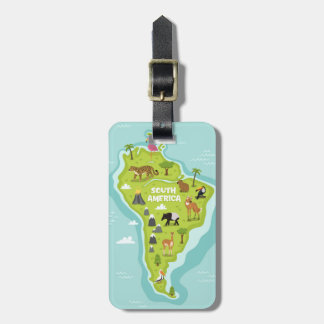 Animals World Map of South America For Kids Bag Tag