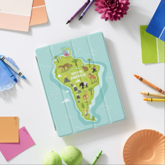 Animals World Map of South America For Kids iPad Cover