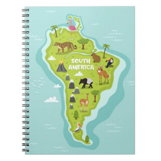 Animals World Map of South America For Kids Notebooks