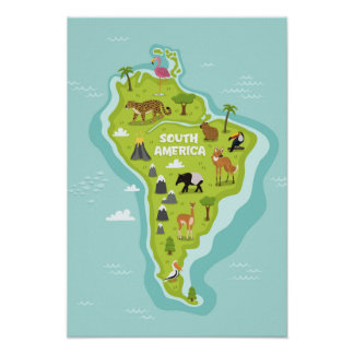 Animals World Map of South America For Kids Poster