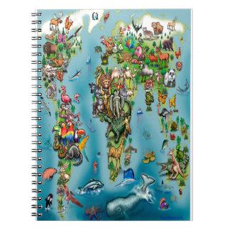 Animals World Map Spiral Notebook