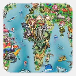 Animals World Map Square Sticker