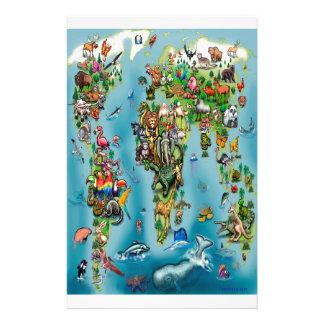 Animals World Map Stationery Design
