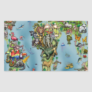 Animals World Map Sticker