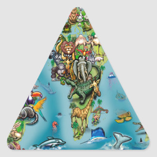 Animals World Map Triangle Sticker