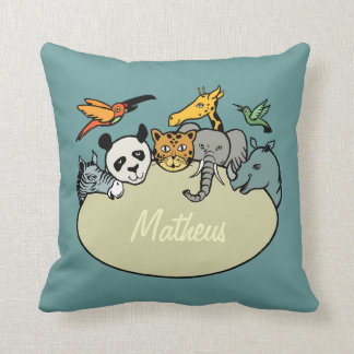 animals zoo family personalized children throw pillow