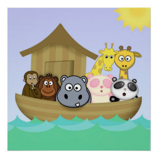 Animatastic Ark Colorful Children's Animal Poster