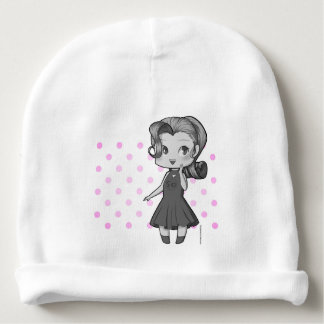 Animate Chibi Girl and Polka Dowries Baby Beanie